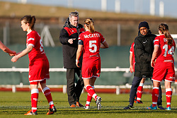 Bristol City Women Manager Willie Kirk congratulates Grace McCatty (capt) after Bristol City Women win the match 7-1 - Mandatory byline: Rogan Thomson/JMP - 14/02/2016 - FOOTBALL - Stoke Gifford Stadium - Bristol, England - Bristol City Women v Queens Park Rangers Ladies - SSE Women's FA Cup Third Round Proper.