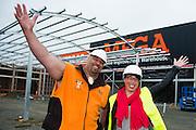 Mitre 10 Mega construction site visit by deputy Mayor Ana Coffey, with Levi Vaoga and Daren Millburn. Thursday 24 October 2013.<br /> <br /> Photo by Mark Tantrum | www.marktantrum.com