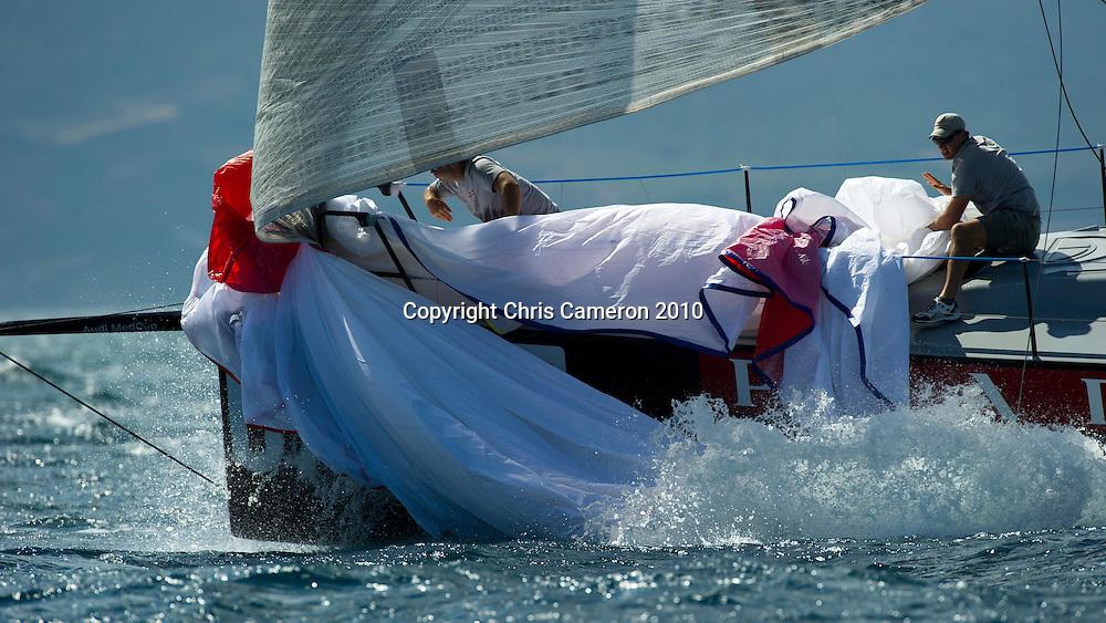 Luna Rossa (ITA) practice races against other Audi MedCup teams before the Trofee of Sardinia regatta. 19/10/2010