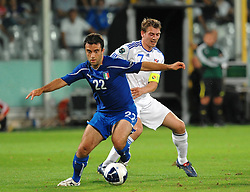 07.09.2010, Stadio Artemio Franchi, Florenz, ITA, UEFA 2012 Qualifier, Italia v Faer Oer, im Bild Giuseppe ROSSI Italia, Benjaminsen Faer Oer.EXPA Pictures © 2010, PhotoCredit: EXPA/ InsideFoto/ Andrea Staccioli *** ATTENTION *** FOR AUSTRIA AND SLOVENIA USE ONLY! / SPORTIDA PHOTO AGENCY