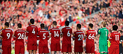 LIVERPOOL, ENGLAND - Saturday, April 14, 2018: Liverpool players stand for a moment's applauds to remember the victims of the Hillsborough Stadium Disaster a day before the 29th anniversary during the FA Premier League match between Liverpool FC and AFC Bournemouth at Anfield. (Pic by Laura Malkin/Propaganda)