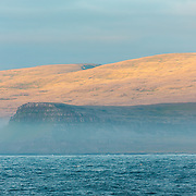 The cliffs of Latrabjarg as the sun gets low in the sky. This is the western most point of Iceland, and therefore Europe, and suggested to be the largest bird cliffs in Europe. Latrabjarg, West Fjords, Icealand. July.