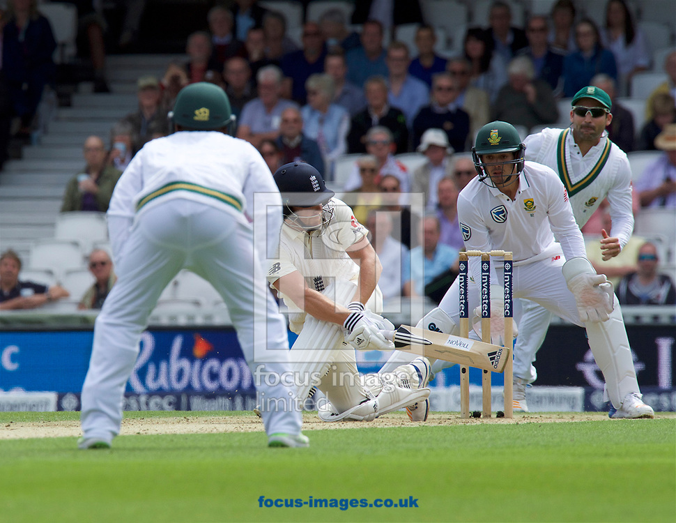 Jonny Bairstow of England sweeps the ball away for a four during the 100th Investec Test Match match at the Kia Oval, London<br /> Picture by Alan Stanford/Focus Images Ltd +44 7915 056117<br /> 28/07/2017