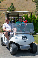 KELOWNA, CANADA - JULY 21: Tom Dyas and Gavin Hamilton drive by in a golf cart a the Kelowna Rockets Alumni golf tournament at Black Mountain Golf Club in Kelowna, British Columbia, Canada.  (Photo by Marissa Baecker/Shoot the Breeze)  *** Local Caption ***