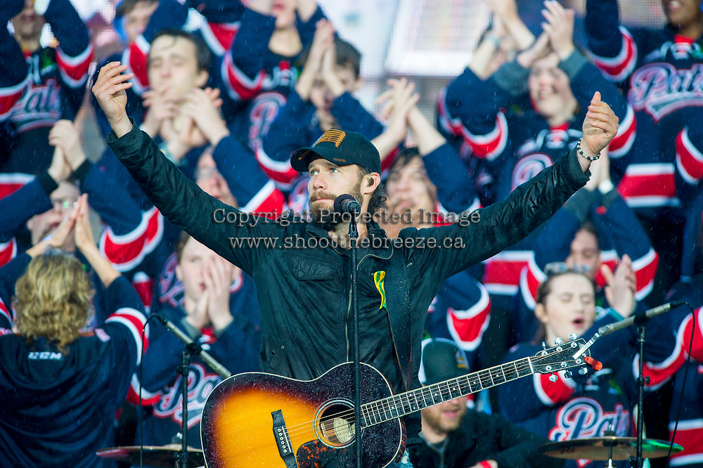 REGINA, SK - MAY 17: Country music artist Chad Brownlee performs during opening ceremonies at Mosaic Stadium on May 17, 2018 in Regina, Canada. (Photo by Marissa Baecker/Shoot the Breeze)