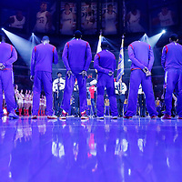 21 April 2014: Los Angeles Clippers players are seen during the national anthem prior to the Los Angeles Clippers 138-98 victory over the Golden State Warriors, during Game Two of the Western Conference Quarterfinals of the NBA Playoffs, at the Staples Center, Los Angeles, California, USA.