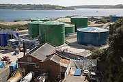 Fuel storage container oil tanks in docks, Falmouth, Cornwall, England