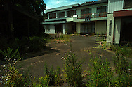 Abandoned buildings at the Town of Okuma. Situated within 5km of Fukushima No. 1 reactors which saw one of the worst nuclear accident in 2011, the town is still under strict access with little prospect of residents returning in a near future