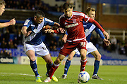 Middlesbrough midfielder Gaston Ramirez takes on Birmingham City defender Paul Robinson during the Sky Bet Championship match between Birmingham City and Middlesbrough at St Andrews, Birmingham, England on 29 April 2016. Photo by Alan Franklin.