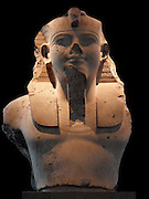 Colossal limestone bust of Amenhotep III From the mortuary temple of Amenhotep III, Thebes, Egypt. 18th Dynasty, about 1350 BC. Amenhotep III commissioned hundreds of sculptures for his mortuary temple on the west bank of the Nile at Thebes, though the precise original location of most of them is not known. They included not only figures of the king but also a large range of animal sculptures in a variety of stones.
