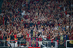 September 22, 2018 - Atlanta, GA, U.S. - ATLANTA, GA Ð SEPTEMBER 22:  Atlanta's crowd does the A-T-L chant in unison during the match between Atlanta United and Real Salt Lake on September 22nd, 2018 at Mercedes-Benz Stadium in Atlanta, GA.  Atlanta United FC defeated Real Salt Lake by a score of 2 to 0.  (Photo by Rich von Biberstein/Icon Sportswire) (Credit Image: © Rich Von Biberstein/Icon SMI via ZUMA Press)