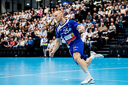 April 11, 2018 - Ystad, Sverige - 180411 AlingsÃ¥s Andreas Berg jublar under kvartsfinal 4 i Handbollsligan mellan Ystads IF och AlingsÃ¥s den 11 april 2018 i Ystad  (Credit Image: © Petter Arvidson/Bildbyran via ZUMA Press)