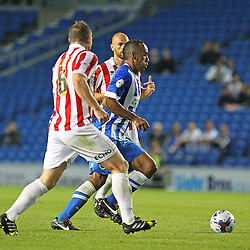Brighton & Hove Albion's Chris O'Grady on the ball during the English Capital One Cup 1st Round between Brighton & Hove Albion FC and Cheltenham Town FC at the American Express Community Stadium, Brighton, 12th August 2014 © Phil Duncan | SportPix.org.uk