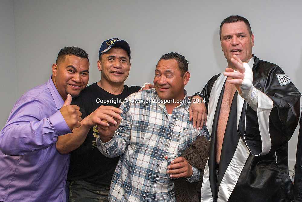 Kali `Mean Hands` Meehan and guests after defeating Shane `The Mountain Warrior` Cameron in the Mahindra Super 8 Fight Night, North Shore Events Centre, Auckland, New Zealand, Sunday, November 23, 2014. Photo: David Rowland/www.photosport.co.nz