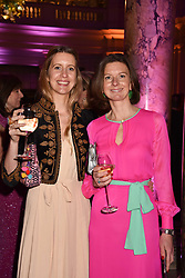 Sisters Lady Xouchi Balfour and Lady Willa Franks at The Sugarplum Dinner 2017 to benefit the type 1 diabetes charity JDRF held at the Victoria & Albert Museum, Cromwell Road, London England. 14 November 2017.<br /> Photo by Dominic O'Neill/SilverHub 0203 174 1069 sales@silverhubmedia.com