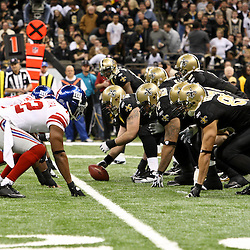November 28, 2011; New Orleans, LA, USA; The New Orleans Saints line up against the New York Giants during the first quarter of a game at the Mercedes-Benz Superdome. Mandatory Credit: Derick E. Hingle-US PRESSWIRE