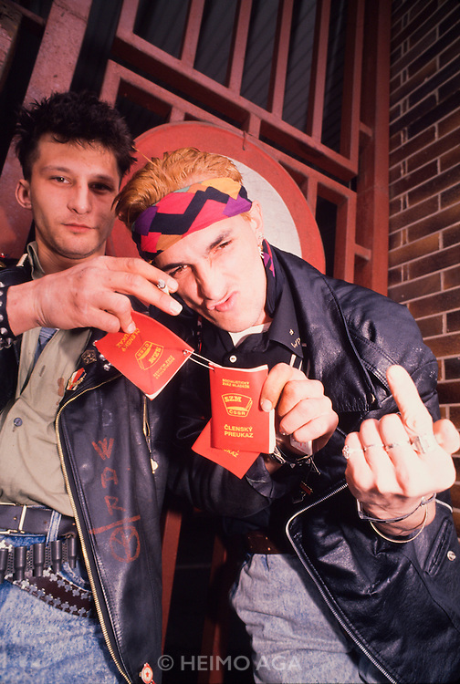March 19, 1990. Bratislava, Czechoslovakia. Slovak punks showing their hated passports issued under Communist rule. (Photo Heimo Aga)
