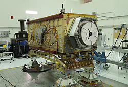 April 30, 2019 - California, U.S. - The Orbiting Carbon Observatory 3, or OCO-3, sits on the large vibration table (known as the 'shaker') in the Environmental Test Lab at the Jet Propulsion Laboratory. The exposed wires lead to sensors used during dynamics and thermal-vacuum testing. Thermal blankets will be added to the instrument at Kennedy Space Center, where a Space-X Dragon capsule carrying OCO-3 is slated to launch it to the International Space Station to observe near-global measurements of carbon dioxide on land and sea, from just after sunrise to just before sunset. That makes it far more versatile and powerful than its predecessor. (Credit Image: ? JPL-Caltech/NASA via ZUMA Wire/ZUMAPRESS.com)