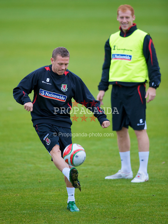 CARDIFF, WALES - Tuesday, October 7, 2008: Wales' captain Craig Bellamy and James Collins during training at the Vale of Glamorgan Hotel ahead of the 2010 FIFA World Cup South Africa Qualifying Group 4 match against Liechtenstein. (Photo by David Rawcliffe/Propaganda)