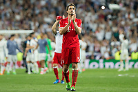Mats Hummels of FC Bayern Munchen during the match of Champions League between Real Madrid and FC Bayern Munchen at Santiago Bernabeu Stadium  in Madrid, Spain. April 18, 2017. (ALTERPHOTOS)