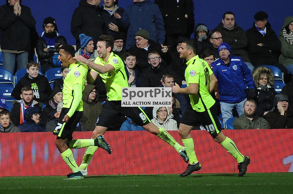The Brighton players celebrate Rajiv Van La Parras goal to put them 2-0 up during the Queens Park Rangers v Brighton & Hove Albion game in the  Sky Bet Championship on Tuesday 15th Decemeber 2015 at Loftus Road.