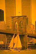 Brooklyn Bridge and Twin Towers, Sailboat, New York City, NY, Bridge designed by John Augustus Roebling, World Trade Center, Twin Towers, designed by Minoru Yamasaki, International Style II
