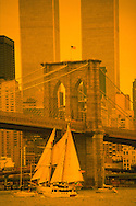 Brooklyn Bridge and Twin Towers, Sailboat, New York City, NY, Bridge designed by John Augustus Roebling, World Trade Center, Twin Towers, designed by Minoru Yamasaki, International Style II