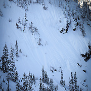 Tyler Hatcher makes turns down the Widow Maker Face near Mount Baker Ski Area.