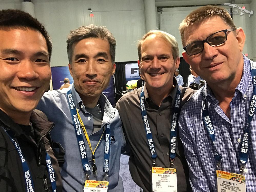 Eric Cheng, Takuya Torii (INON), Paul Barnett (Nauticam), Peter Mooney (DEMA 2016, Las Vegas)