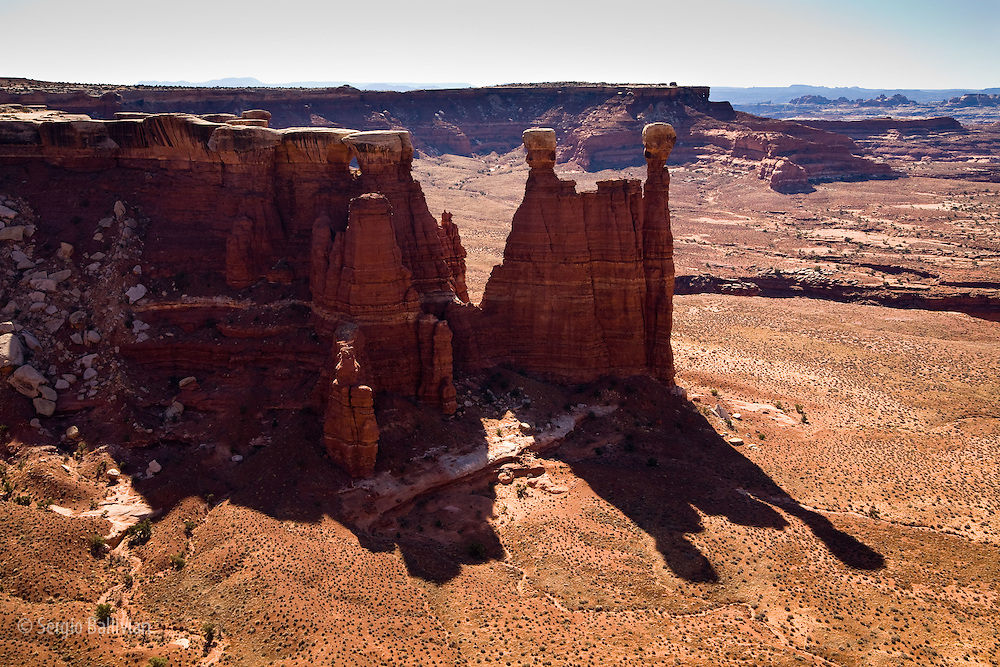 Views of the Maze and Needles districts from the White Crack campsite as seen from the White Rim Trail in Canyonlands National Park, Utah.