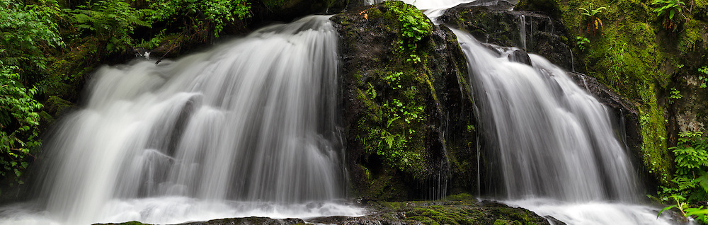 Panorama of Steelhead Falls in the Hayward Lake Recreation Area in Mission, British Columbia, Canada
