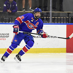 BUFFALO, NY - SEP 20,  2017: Ontario Junior Hockey League Governors Showcase game between the Toronto Jr. Canadiens and Wellington Dukes, Jack McBain #19 of the Toronto Jr. Canadiens follows the play during the first period.<br /> (Photo by Andy Corneau / OJHL Images)