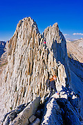 Climbers on the classic traverse of Matthes Crest, Yosemite National Park, California USA