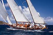 Galatea sailing the Butterfly Race at the Antigua Classic Yacht Regatta.
