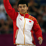 Zhe Feng, China, Gold Medal winner in the Men's Parallel Bars Final at North Greenwich Arena during the London 2012 Olympic games London, UK. 7th August 2012. Photo Tim Clayton