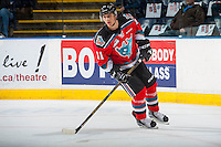 KELOWNA, CANADA - NOVEMBER 26: Jordan Borstmayer #11 of the Kelowna Rockets warms up against the Regina Pats on November 26, 2016 at Prospera Place in Kelowna, British Columbia, Canada.  (Photo by Marissa Baecker/Shoot the Breeze)  *** Local Caption ***