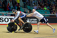 Picture by Ian Wadkins/Focus Images Ltd +44 7877 568959<br /> 02/11/2013<br /> Jess Varnish of Team GB pictured getting a push start during day two of the UCI Track Cycling World Cup  at the National Cycling Centre, Manchester.