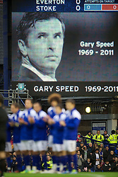04122011, Goodison Park, Liverpool, ENG, Premier League, FC Everton vs Stoke City, 14 Spieltag, im Bild An image of former Everton player and Wales manager Gary Speed, who died earlier this week, is shown on the big screen as players and fans of both Everton and Stoke City pay tribute before the football match of english Premier League, 14th round between FC Everton and Stoke City at Goodison Park, Liverpool, ENG on 2011/12/04. EXPA Pictures © 2011, PhotoCredit: EXPA/ Sportida/ David Rawcliff..***** ATTENTION - OUT OF ENG, GBR, UK *****