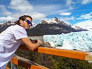 Perito Moreno Glacier, Los Glaciares National Park, Santa Cruz Province, Argentina Tourist admire the view