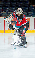 KELOWNA, CANADA - OCTOBER 10: Jordon Cooke #30 of the Kelowna Rockets warms up on the ice as the Spokane Chiefs visit the Kelowna Rockets on October 10, 2012 at Prospera Place in Kelowna, British Columbia, Canada (Photo by Marissa Baecker/Shoot the Breeze) *** Local Caption ***