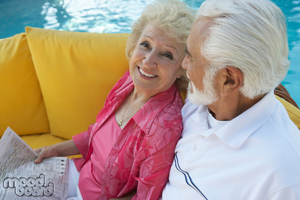 Senior couple relaxing outdoors