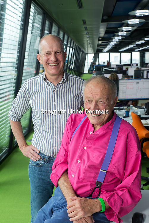 Simon Smithson & Richard Rogers photographed in Rogers, Stirk, Harbour & Partners offices in London. 12 May 2017