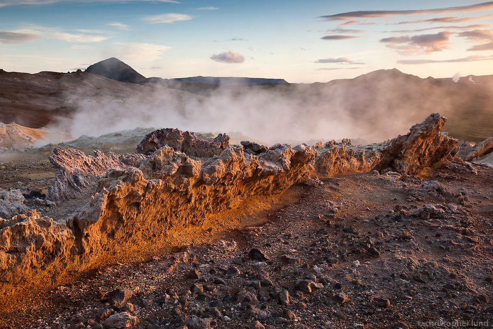 Sunrise at Námafjall mountain, south of Námaskarð, with geothermal heat all over the east side of the mountain. Sulphur was mined here for centuries from the Hlíðarnámur mines and exported.