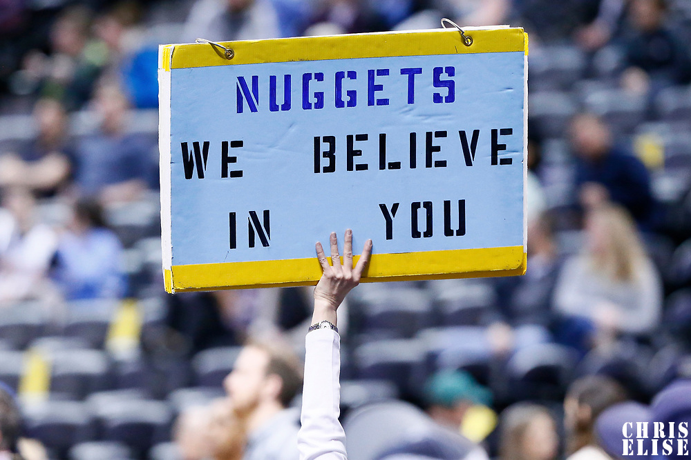 06 March 2017: A fan shows a sign during the Denver Nuggets 108-96 victory over the Sacramento Kings, at the Pepsi Center, Denver, Colorado, USA.