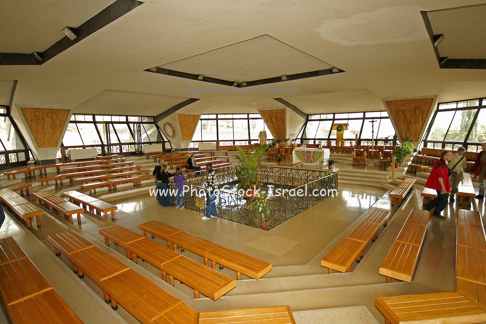 Israel, Sea of Galilee, Capernaum, Interior of the Catholic Church built over the house of Saint Peter