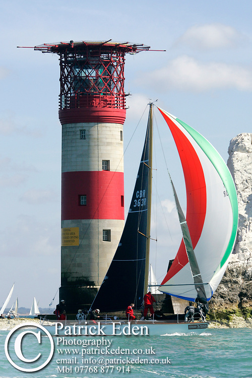 Whooper, overall winner J P Morgan Asset Management Round the Island Race Winner, The Needles, Cowes, Isle of Wight, UK, 2015, J P Morgan Round the Island Race Sports Photography