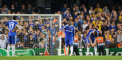 LONDON, ENGLAND - Wednesday, May 6, 2009: Chelsea's goalkeeper Petr Cech, Michael Essien and Michael Ballack look deject after Barcelona score an injury time winning away goal during the UEFA Champions League Semi-Final 2nd Leg match at Stamford Bridge. (Photo by Carlo Baroncini/Propaganda)