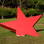 Myanmar (Burma). Yangon. A large Red Star in the grounds of the Martyrs' Mausoleum which is  dedicated to Aung San and other leaders of the pre-independence interim government, all of whom were assassinated on 19 July 1947.