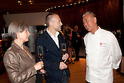 GISELLE ROUX; MICHEL ROUX JNR. NOBU MATSUHISA;; , The Tomodachi ( Friends) Charity Dinner hosted by Chef Nobu Matsuhisa in aid of the Japanese Tsunami Appeal. Nobu Park Lane. London. 4 May 2011. <br /> <br />  , -DO NOT ARCHIVE-© Copyright Photograph by Dafydd Jones. 248 Clapham Rd. London SW9 0PZ. Tel 0207 820 0771. www.dafjones.com.