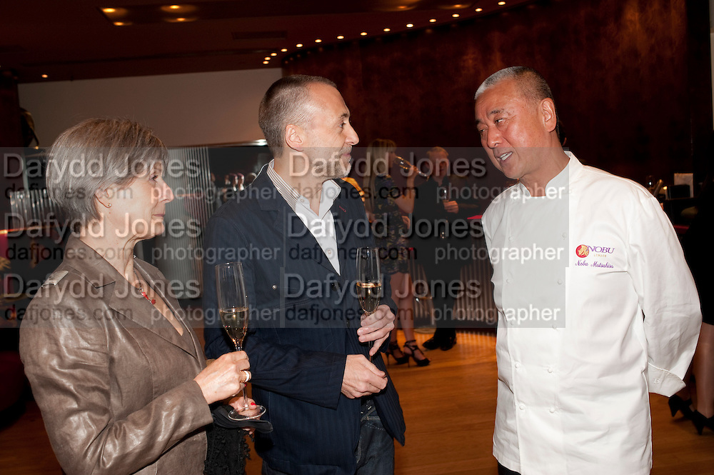 GISELLE ROUX; MICHEL ROUX JNR. NOBU MATSUHISA;; , The Tomodachi ( Friends) Charity Dinner hosted by Chef Nobu Matsuhisa in aid of the Japanese Tsunami Appeal. Nobu Park Lane. London. 4 May 2011. <br /> <br />  , -DO NOT ARCHIVE-&copy; Copyright Photograph by Dafydd Jones. 248 Clapham Rd. London SW9 0PZ. Tel 0207 820 0771. www.dafjones.com.